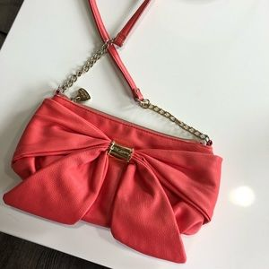 Betsy Johnson Bow Purse in Coral
